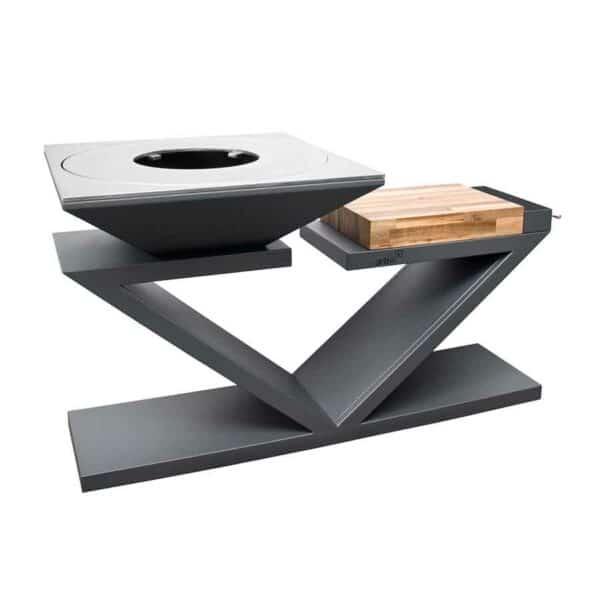 Brasero plancha design G5 Artiss noir plaque acier carbone tablette bois