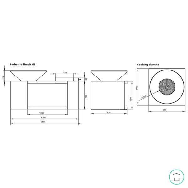 plan et dimensions du brasero G3 ARTISS