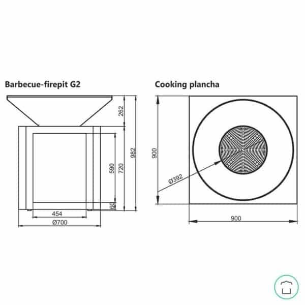 dimensions des braseros G2 Artiss
